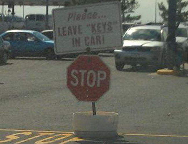 Please leave keys in car quotation marks
