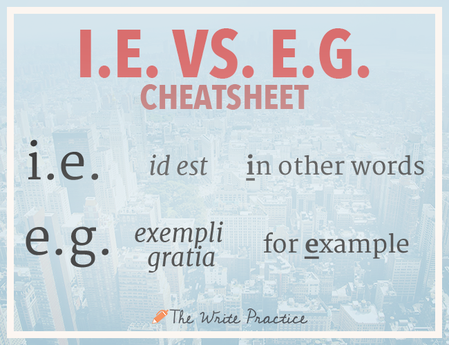 I.E. vs. E.G. cheatsheet