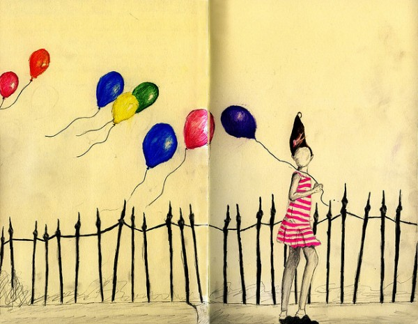 Drawing of Girl with Balloons