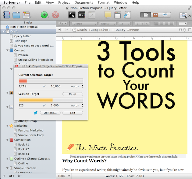 Count Words with Scrivener - Word Count Targets