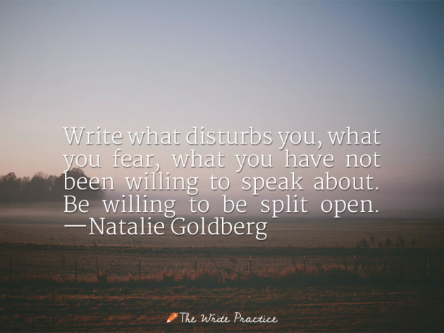 Write what disturbs you, what you fear, what you have not been willing to speak about. Be willing to be split open. Natalie Goldberg