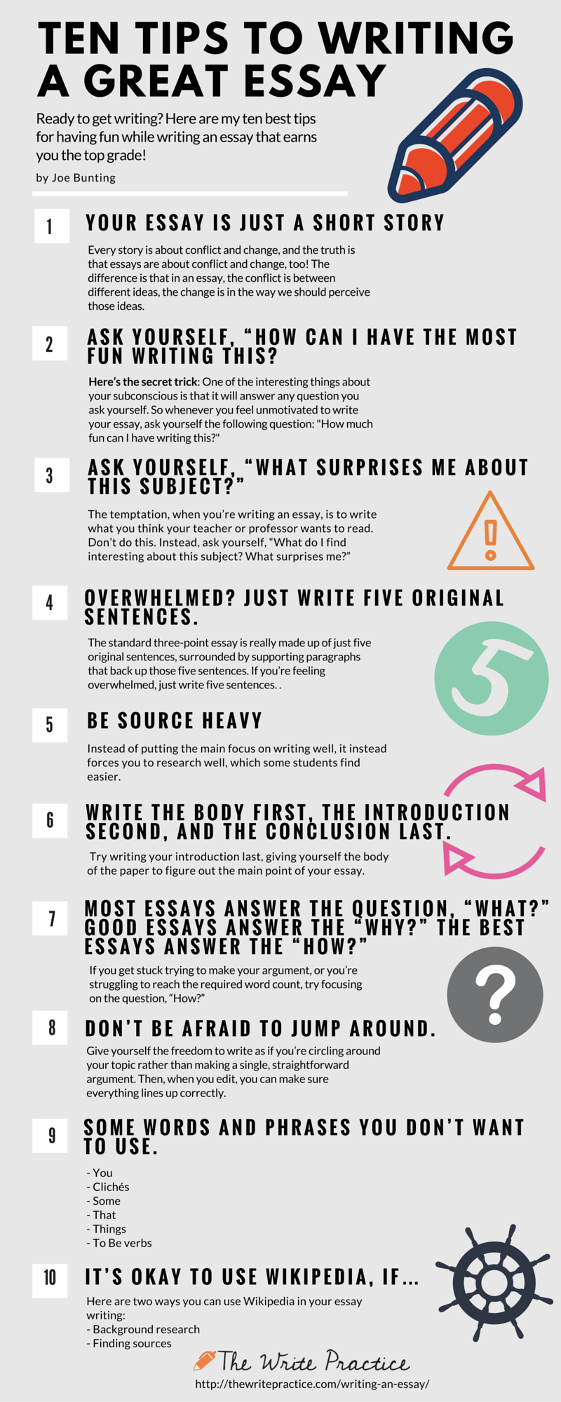 Ten steps for writing an essay