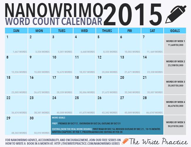 2015 NaNoWriMo Calendar