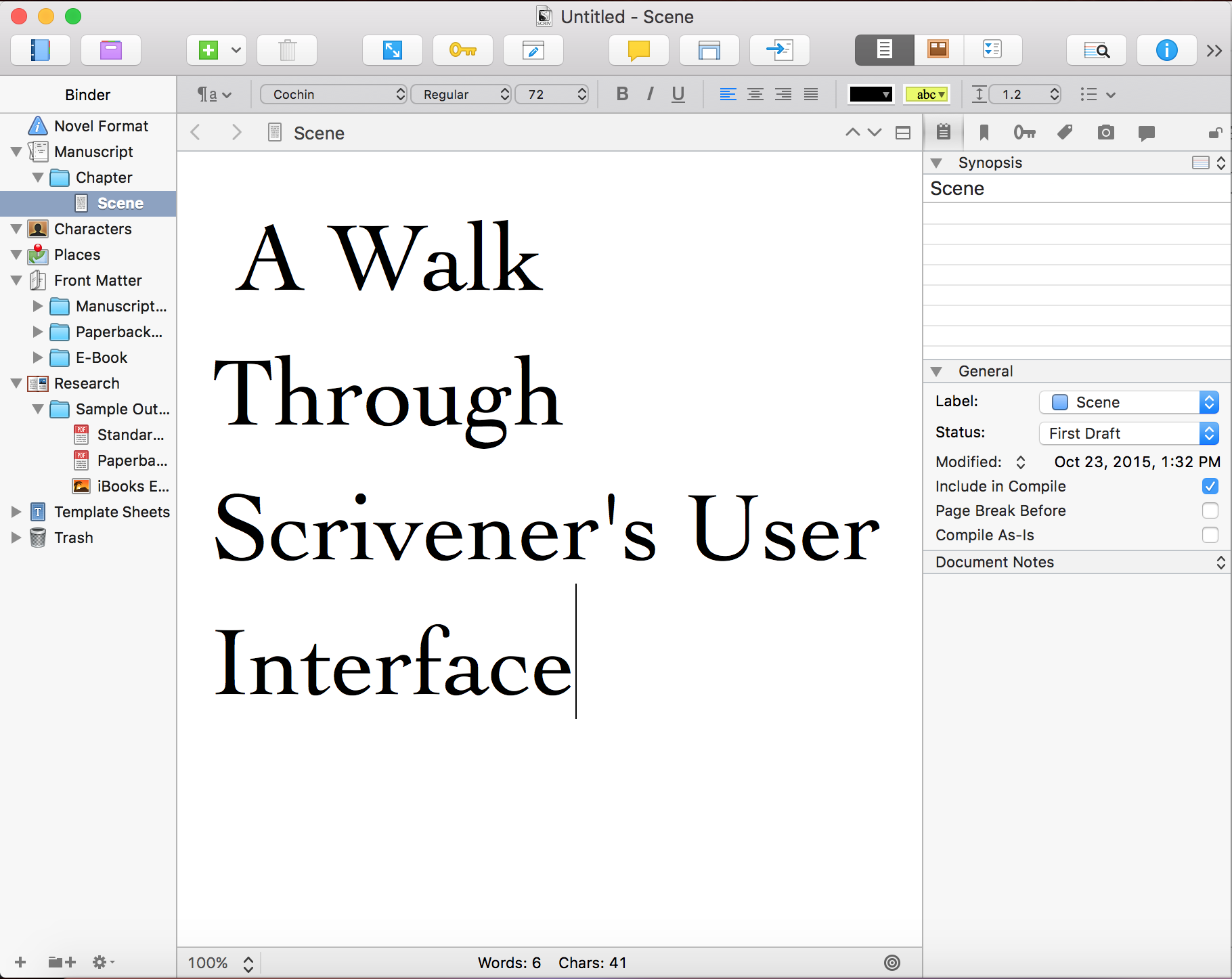 A Walk Through Scrivener's User Interface