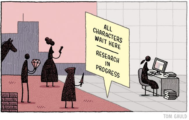 """All Characters Wait Here"" by Tom Gauld"
