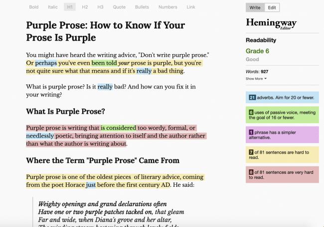 Hemingway App Purple Prose